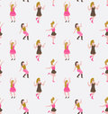 Stylish flat background with dancing girls. Party vector seamless pattern.