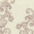 Stylish floral background hand drawn flowers illustration Royalty Free Stock Image