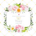 Stylish floral square vector design frame Royalty Free Stock Photo