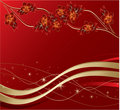 Stylish flowers and leaves on a red background Stock Images