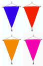 Stylish four pennant or triangle flag with bright twisted border without logo over white Stock Photo