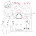 Stylish girl shopping , doodle illustration Royalty Free Stock Photo