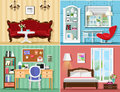 Stylish graphic rooms set: living room, bedroom, home office. Colorful vector furniture. Royalty Free Stock Photo
