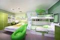 Stylish green children bedroom