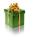 Stylish green present box Royalty Free Stock Photo