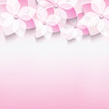 Stylish greeting card with pink 3d sakura flower