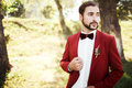 Stylish groom in tuxedo looking away suit marsala red, burgundy bow tie. Royalty Free Stock Photo