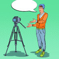 Stylish Guy Blogger Recording Video Vlog. Pop Art illustration
