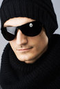 Stylish handsome man in dark sunglasses Stock Photography