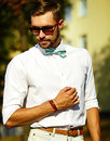 Stylish handsome model man in casual cloth Royalty Free Stock Photo
