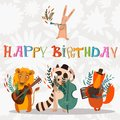 Stylish Happy birthday background. Animals - musicians on birthd