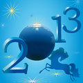 Stylish horse and New Year symbols Stock Images