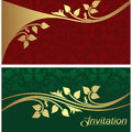 Stylish invitation cards with golden floral elements are presented Royalty Free Stock Images