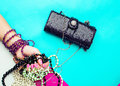Stylish ladies accesories clutch and jewelry Stock Image
