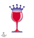 Stylish luxury wineglass with imperial crown isolated on white b Royalty Free Stock Photo
