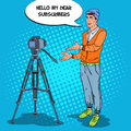 Stylish Man Blogger Recording Video Vlog. Pop Art illustration