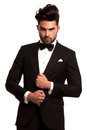 Stylish man in elegant black suit and bowtie Royalty Free Stock Photo