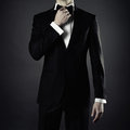 Stylish man photo of in elegant black suit Stock Images