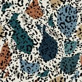 Stylish and minimal Seamless pattern Trendy colorful of freehand with animal leopard print. Trendy hand drawn. M