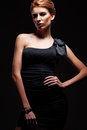 Stylish model in black dress posing Royalty Free Stock Images