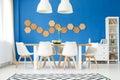 Dining room, royal blue wall Royalty Free Stock Photo