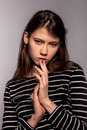 Stylish nice young adult european model woman stock image Royalty Free Stock Images