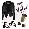 Stylish outfit with leather jacket, sunglasses, lipstick, shoes and coffee cup.