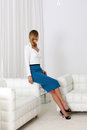Stylish outfit office woman wearing blue skirt Royalty Free Stock Photo