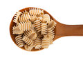 Stylish pasta on nice wooden spoon Royalty Free Stock Images