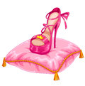 Stylish princess shoe placed on an ornate pillow Stock Photos