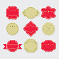 Stylish red and green empty template labels and tags set Royalty Free Stock Photo