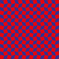 Stylish rhombus and square shapes seamless pattern of red and blue colors Royalty Free Stock Photo