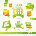 Stylish sale tags on occasion of islamic festival eid celebration shiny or ribbons white background Stock Photos