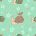 Stylish seamless texture with doodled cartoon snails Royalty Free Stock Photo