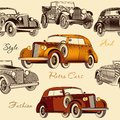 Stylish seamless wallpaper pattern with retro cars Royalty Free Stock Photo