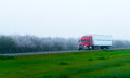 Stylish semi truck and trailer on highway with blooming trees Royalty Free Stock Photo
