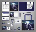 Stylish set of corporate identity with thunder clouds and lightning.