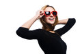 Stylish shades portrait of a young asian woman in heart shaped sunglasses Stock Photos
