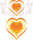 Stylish shining hearts decorative elements to the valentines day illustration Stock Images
