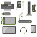 Stylish simple computer devices and icons in green and gray colors Stock Photos