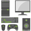 Stylish simple external computer parts set of peripheral in gray and green colors Stock Images