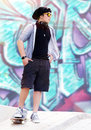Stylish skater boy Royalty Free Stock Photo