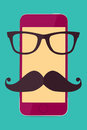 Stylish smartphone touch screen mobile phone with hipster glasses and moustache Royalty Free Stock Photo