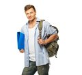 Stylish student with backpack young and folder Royalty Free Stock Images