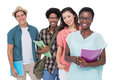 Stylish students smiling at camera together Royalty Free Stock Photo