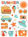 Stylish summer icons set vector format Stock Photos