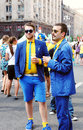 Stylish sweden fans Royalty Free Stock Photo