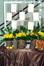 Stylish table list seating plan for wedding reception.