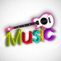 Stylish text with musical instrument.