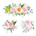 Stylish various flowers bouquets vector design set. Green hydran